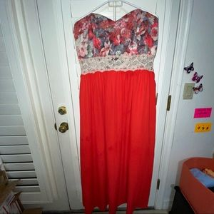 Red Floral, Strapless Maxi Dress!